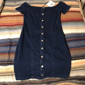 Missguided bardot buttoned fitted denim dress